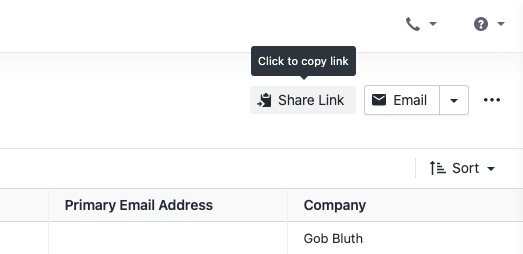 Share Link on Contacts page
