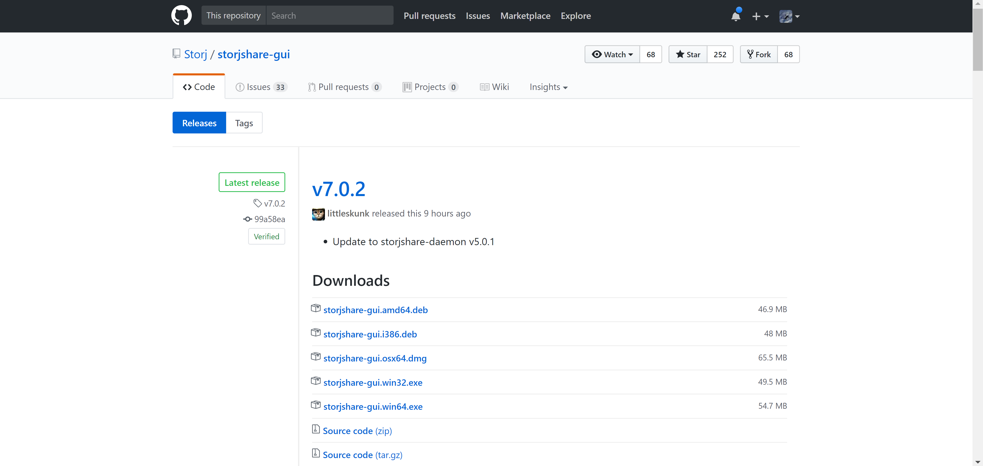 *Figure 2.2. Github Storj Share GUI download page.*