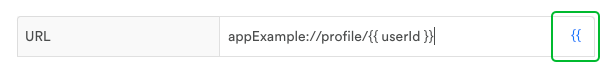 You can insert Leanplum values into URLs, Open Actions, or any text field that shows the {{ value selector. Here's an example of a personalized deeplink for a user profile page in your app.
