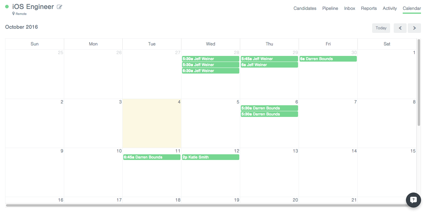 ⭐ essential scheduling candidate interviews to see a calendar view of all scheduled interviews for a position open the position pipeline and click the calendar link in the right hand corner