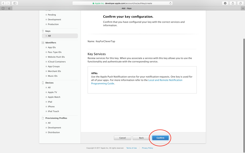 How to Create an iOS APNs Auth Key