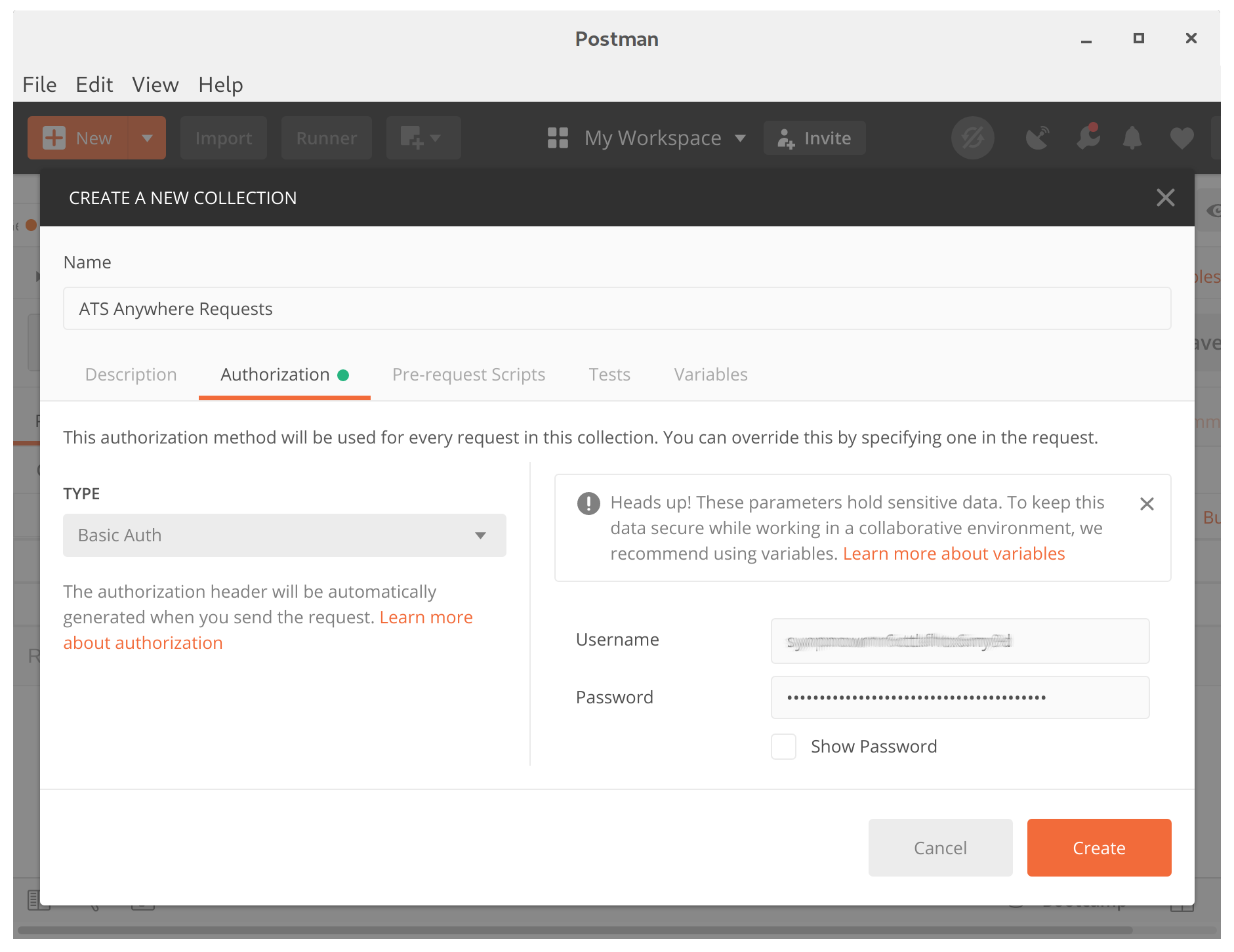 The Authorization tab after configuration.