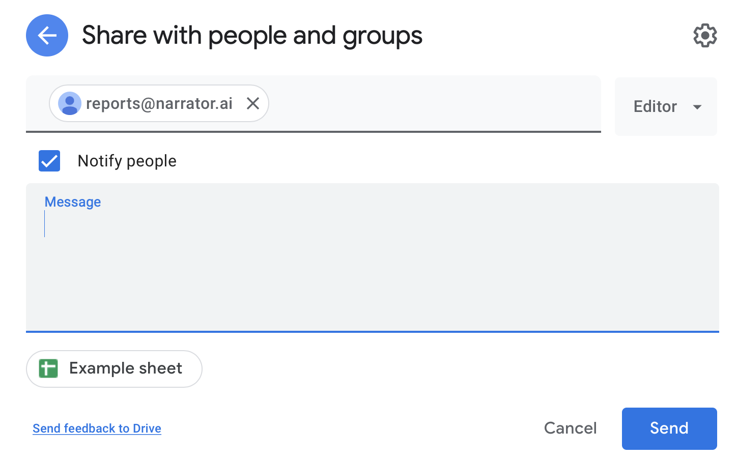 Don't forget to share the google sheet with reports@narrator.ai