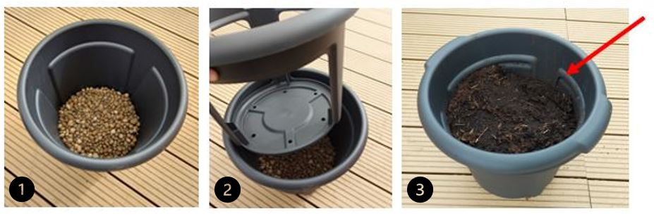 1. Disposition des billes d'argile dans le pot à pommes de terre 2. Mise en place de la partie amovible  3. Ajout d'un mélange de terreau et de lombricompost jusqu'à la démarcation