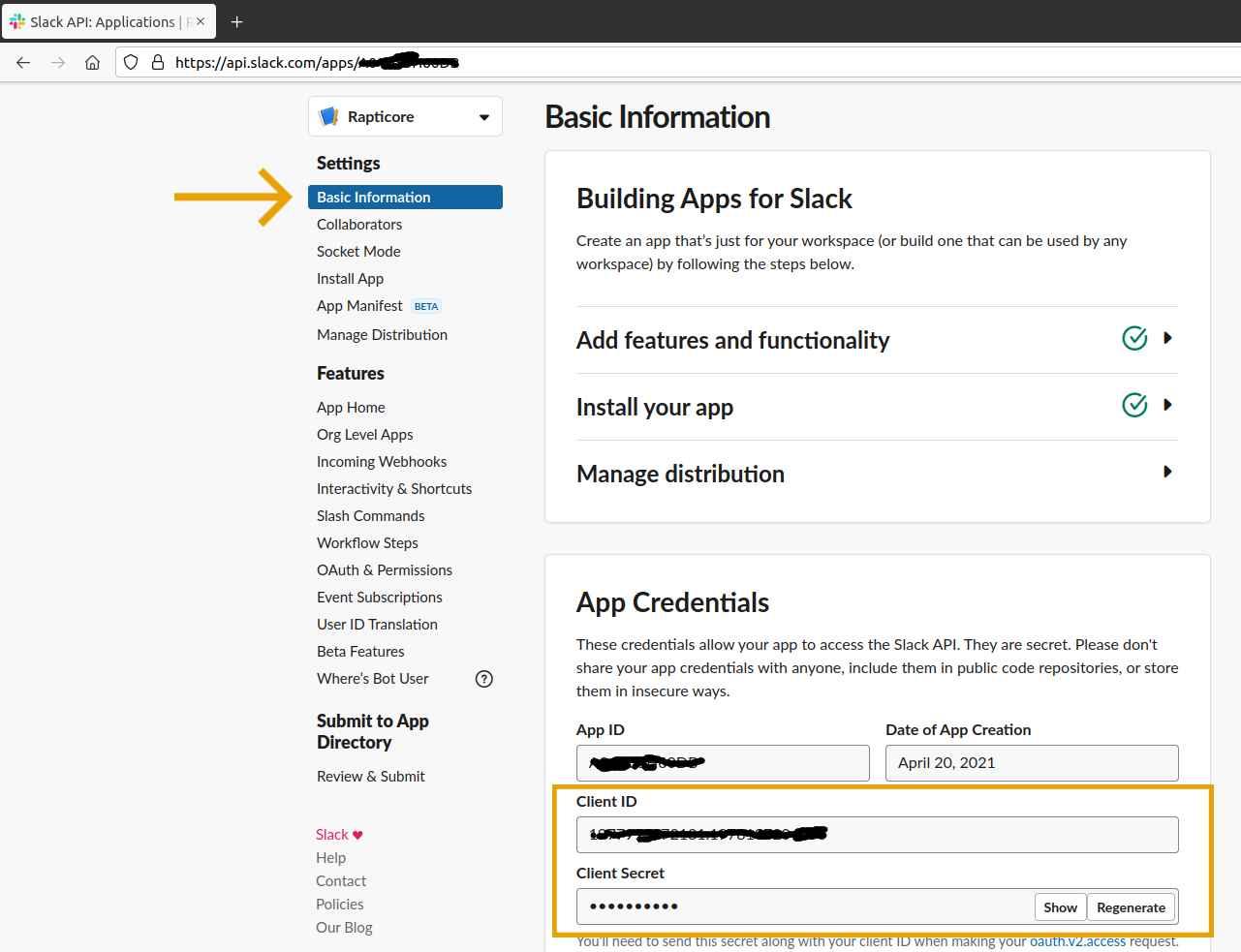 Acquiring Slack App Client Id and Secret.