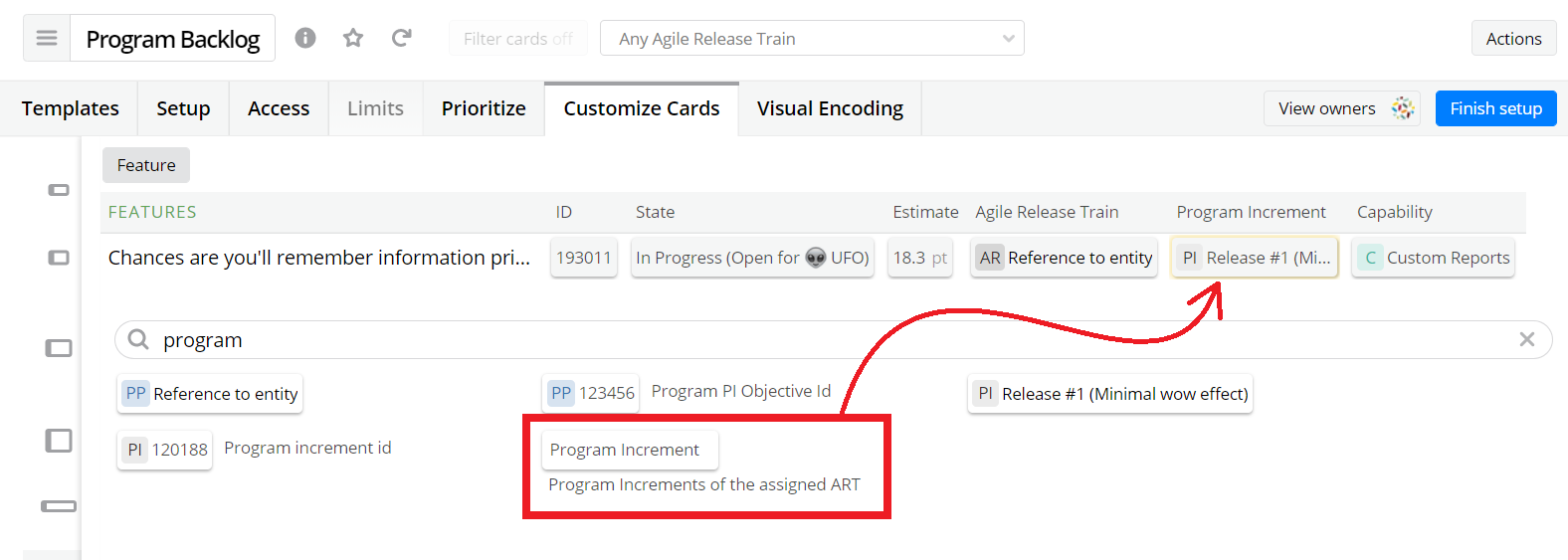 """Changing the default """"Program Increment"""" unit to a configured one in a List view."""