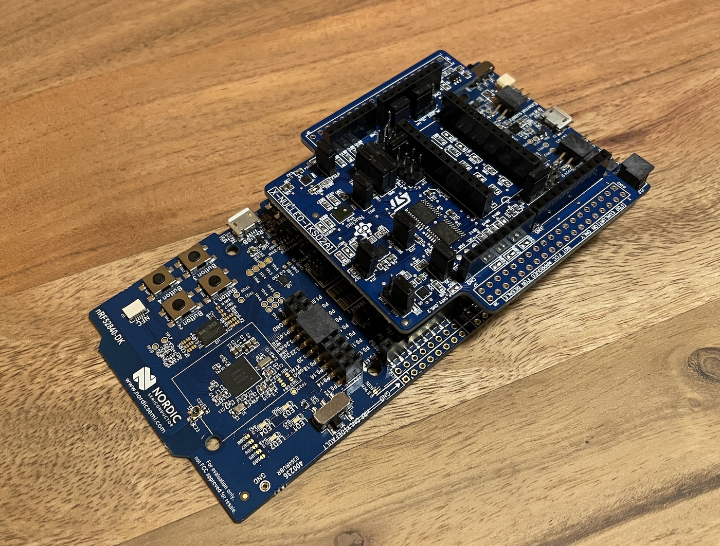 X-NUCLEO-IKS02A1 shield plugged in to the nRF52840 DK