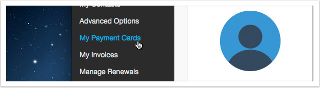 Click the 'My Payment Cards' link in the left hand menu