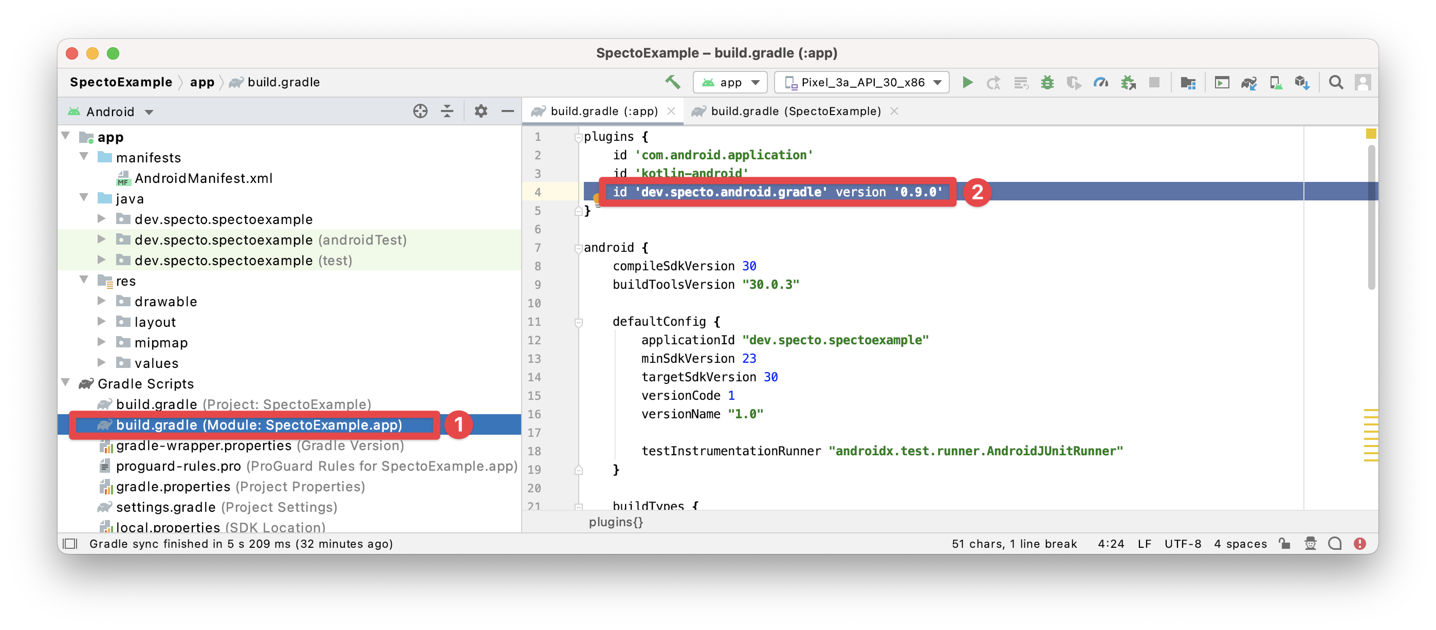 Adding the Specto plugin to your application module's build.gradle (steps 1-2)