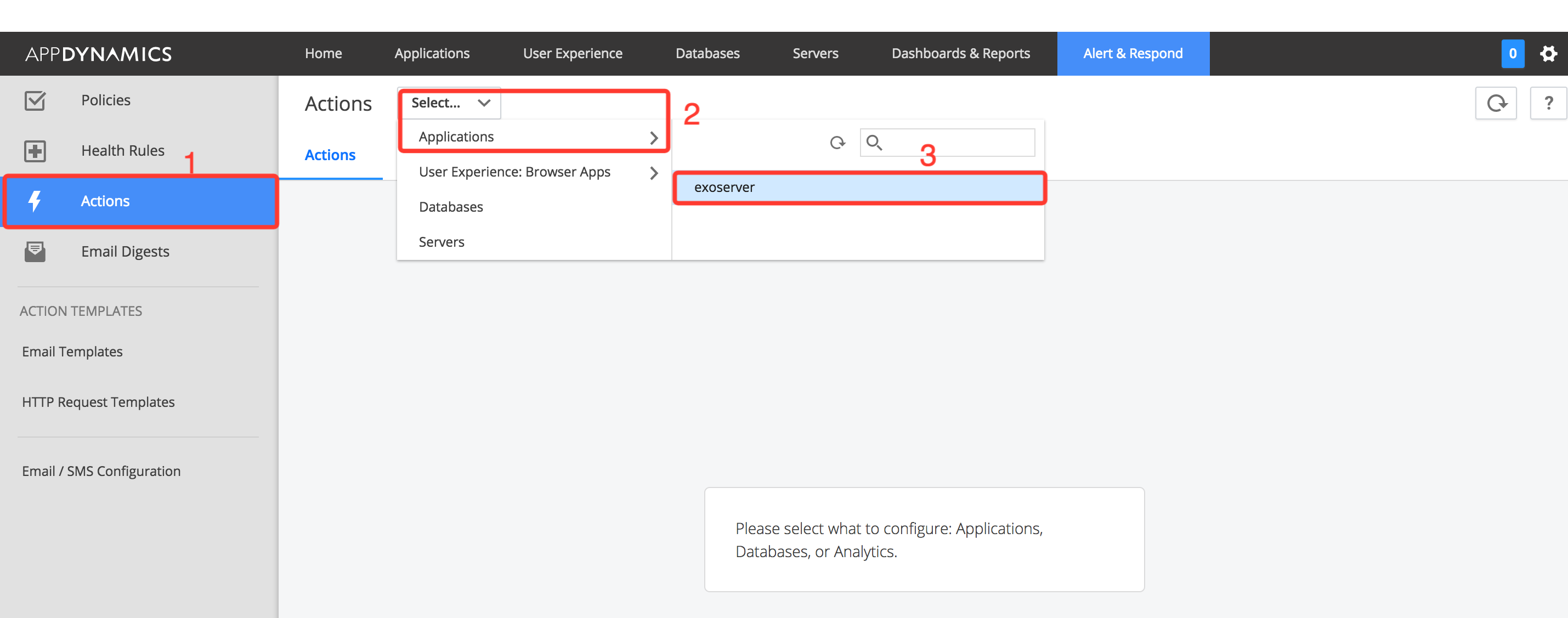 click on the actions tab on the left and select your application from which you wish to alert in the dropdown