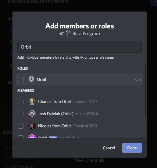 Add Orbit role to any private channels