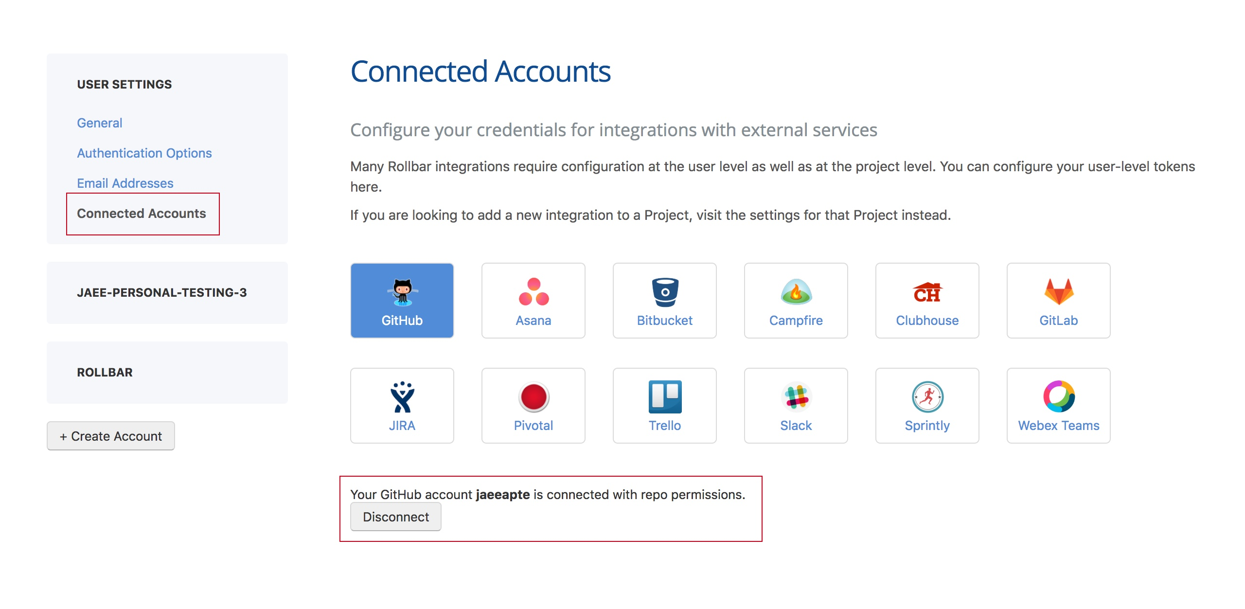 User Settings - connected accounts