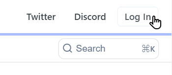 Log In button for Relevance AI API reference