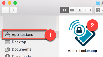 Open *Applications* in Finder, then double-click *Mobile Locker.app*.