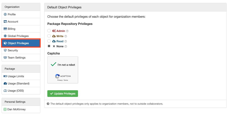 Organization Object Privileges