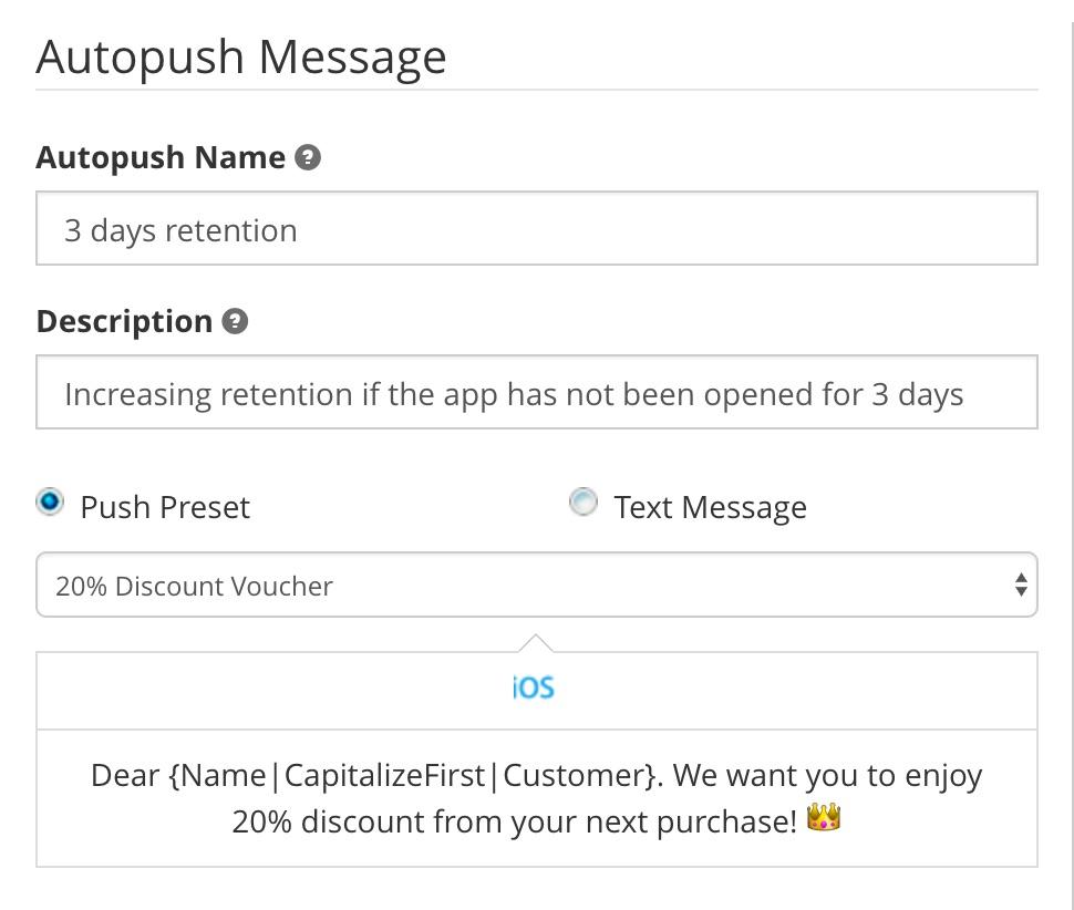 Setting autopush message