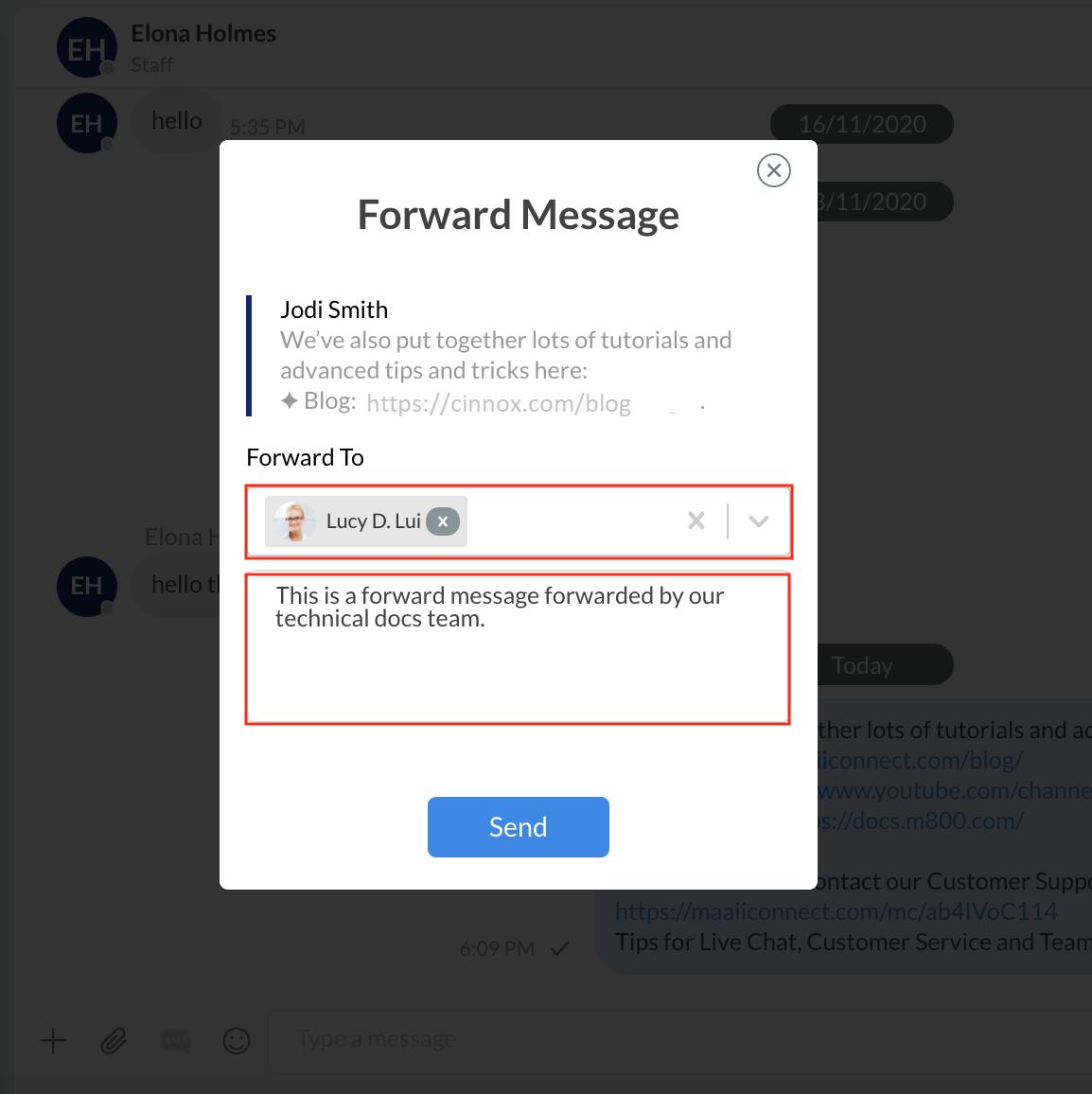 Forward message