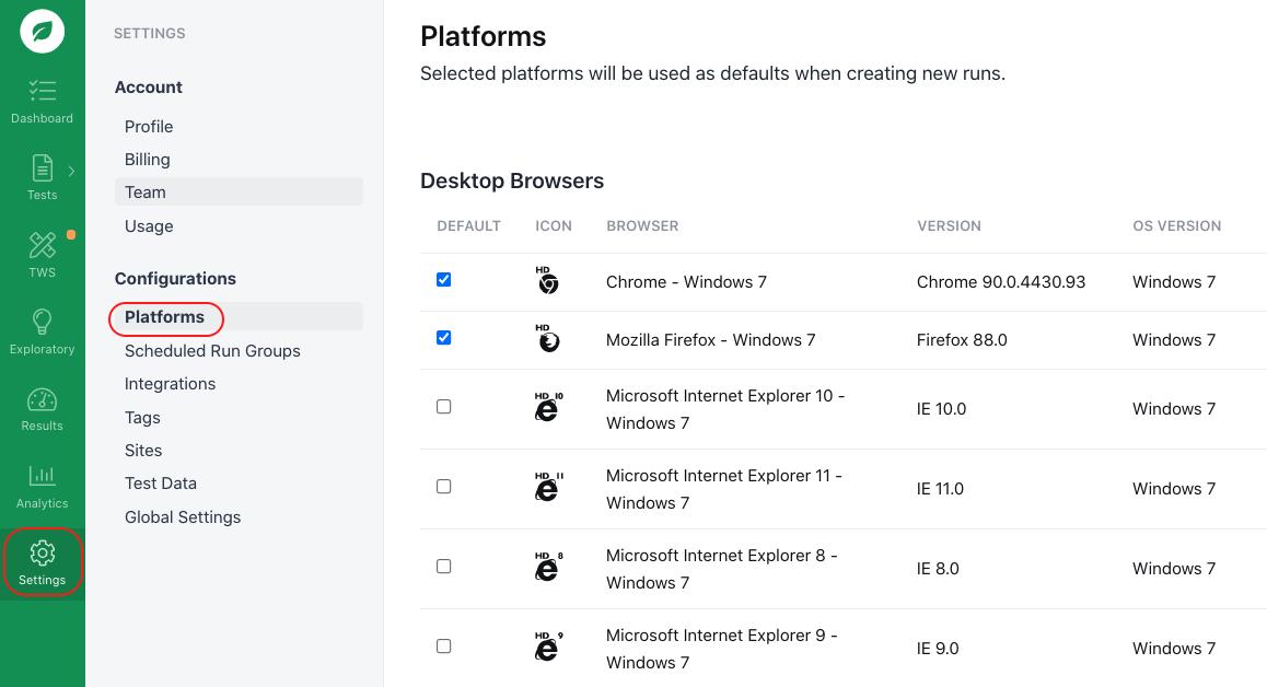 Setting your default platforms.