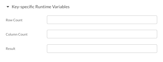 Key-level built-in runtime variables for data sources & data sinks in the database category.