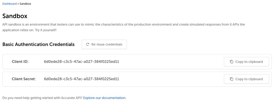 Dashboard page with Sandbox credentials