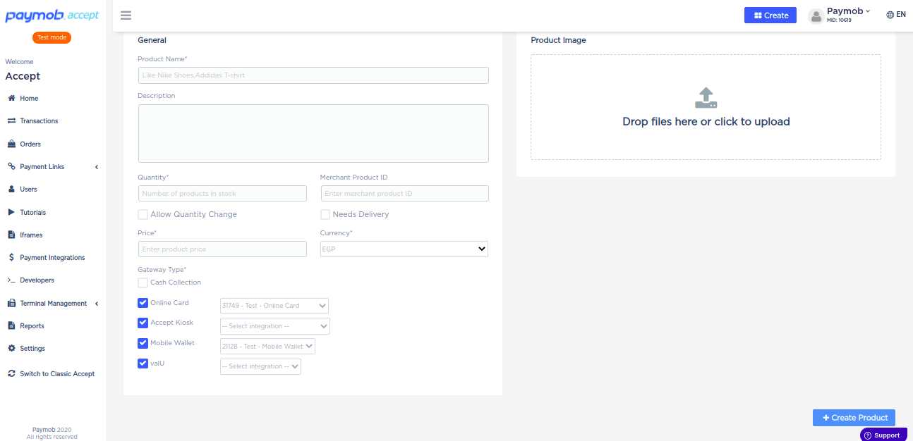 Accept dashboard - Product Creation details.