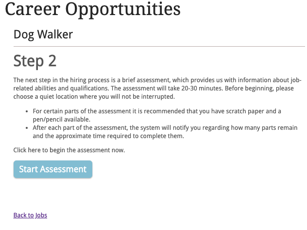 Sample assessment invitation that your applicant will receive.