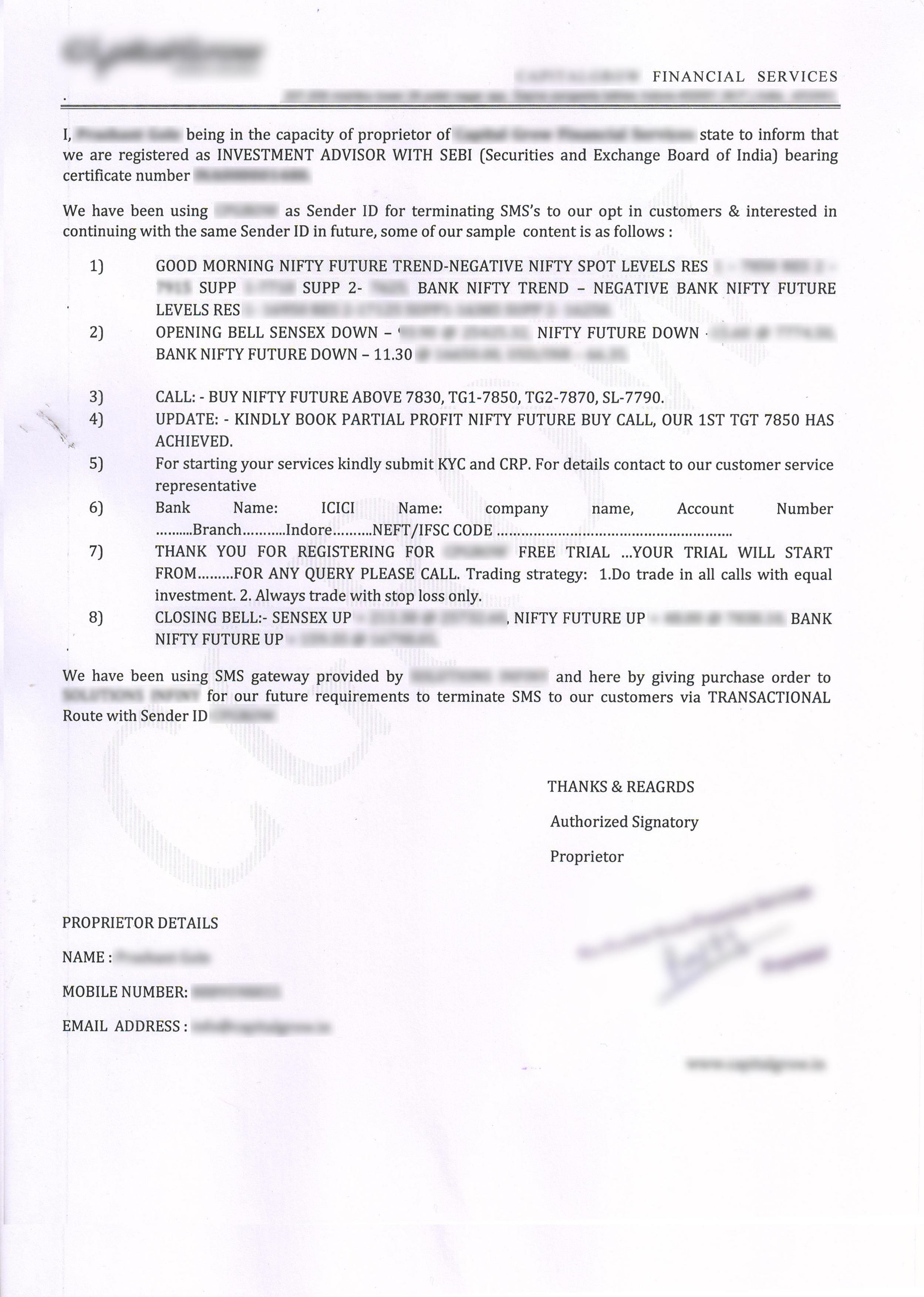 Company SEBI Undertaking Letter
