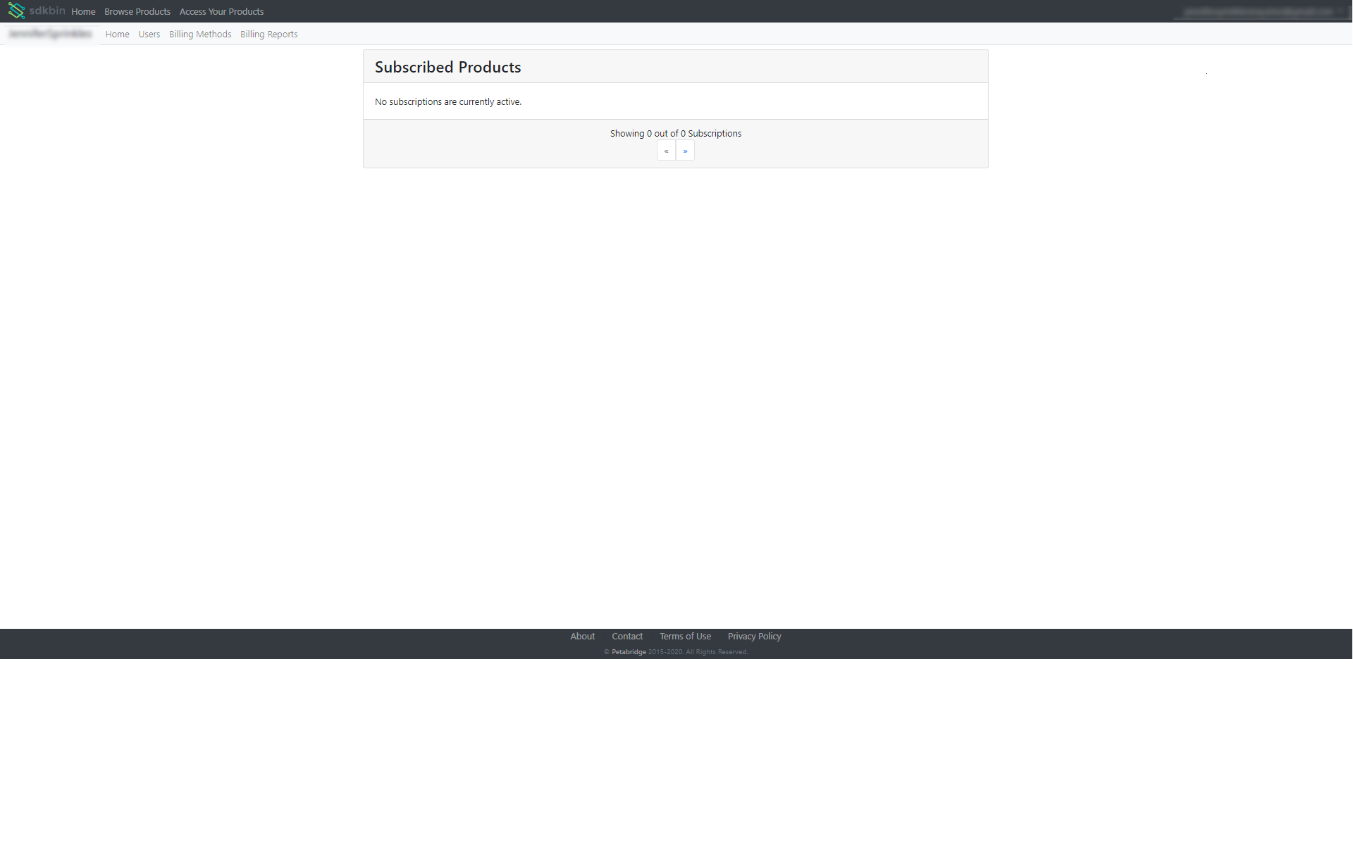 """The default """"products overview"""" screen for Sdkbin customers."""