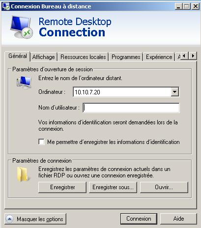 RDP connexion depuis un poste Windows NDV