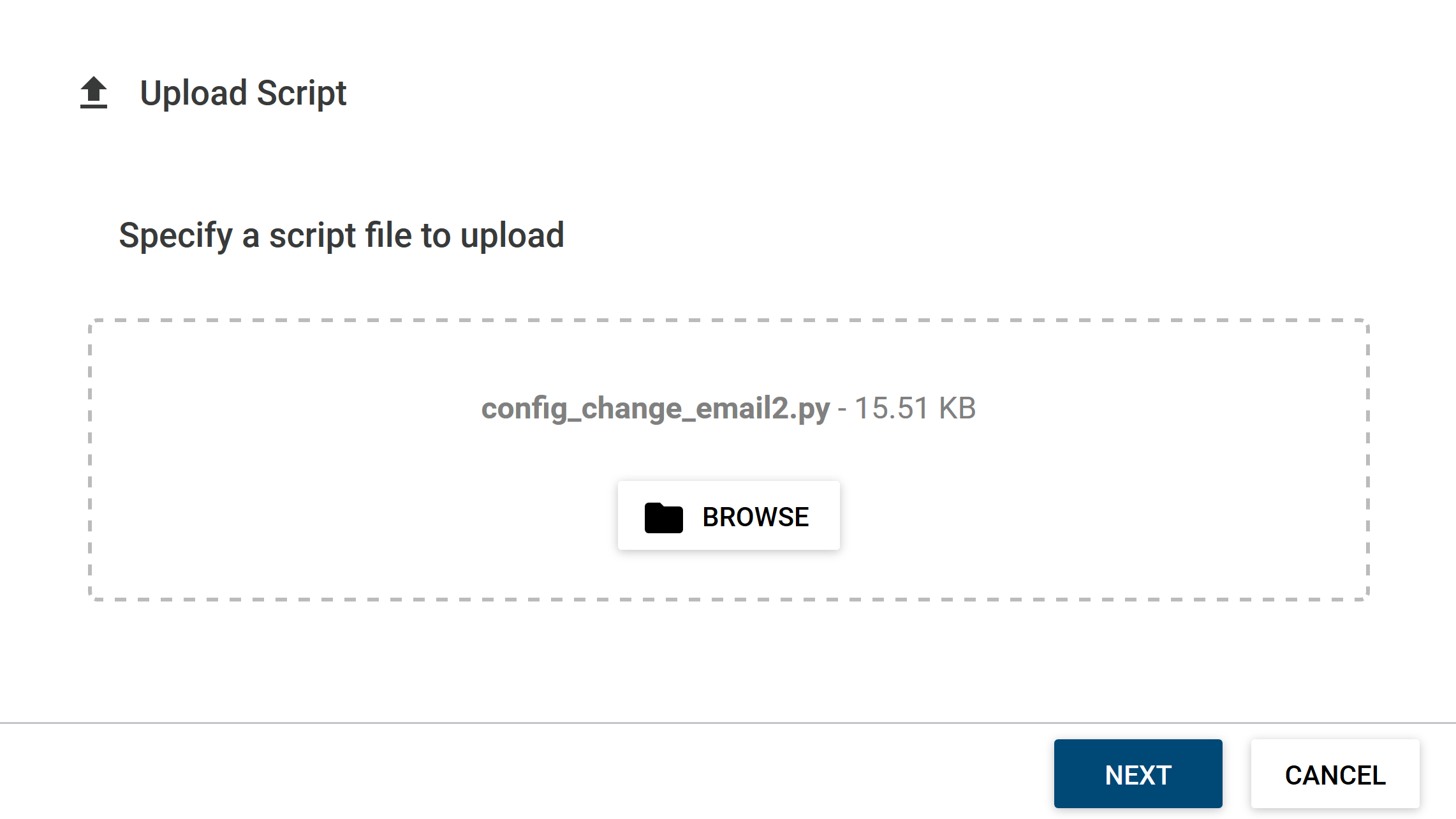 Upload confirmation page