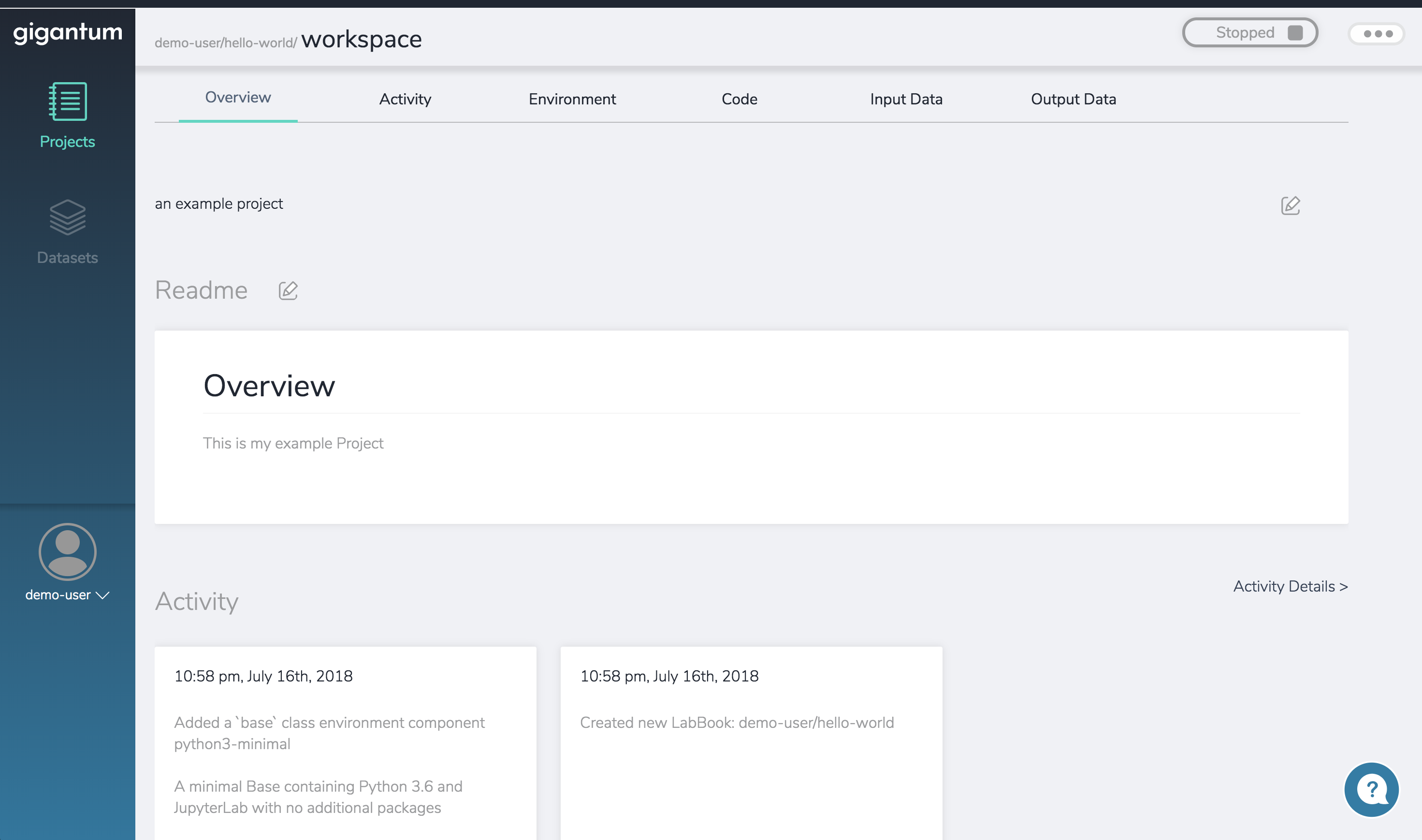 At the top right of the Project Overview is the container status widget that also lets you run or stop the Project.