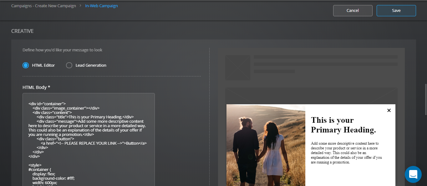 Using In-Web Campaign's HTML Editor