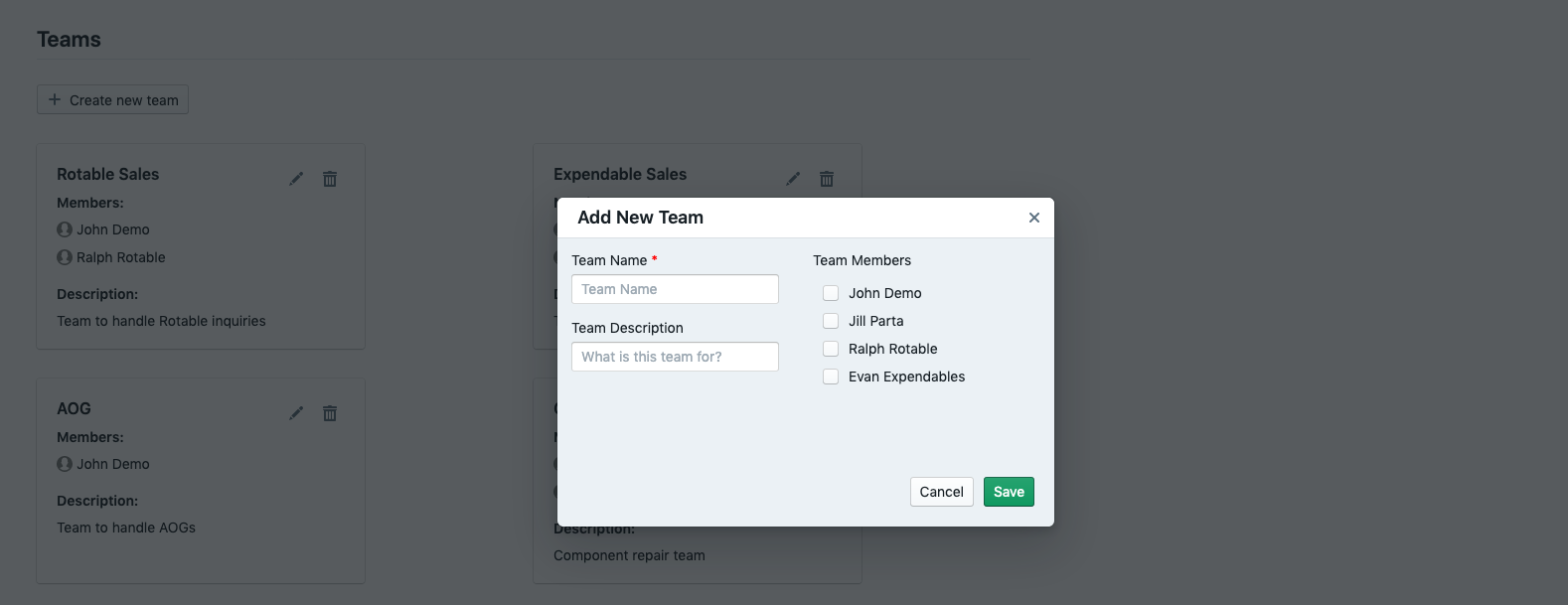 Adding a new team