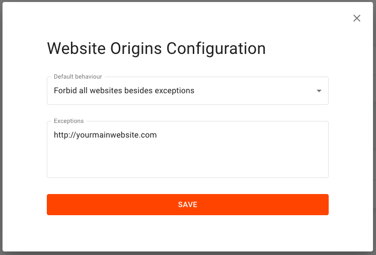Screenshot of the form required to set up origin whitelisting