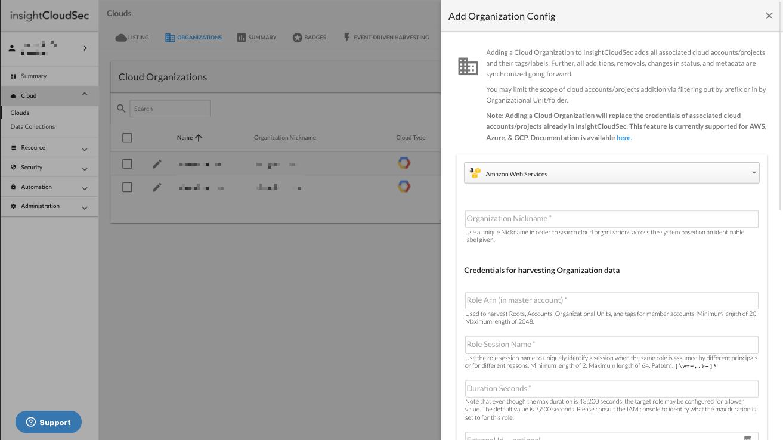 Adding an AWS Organization