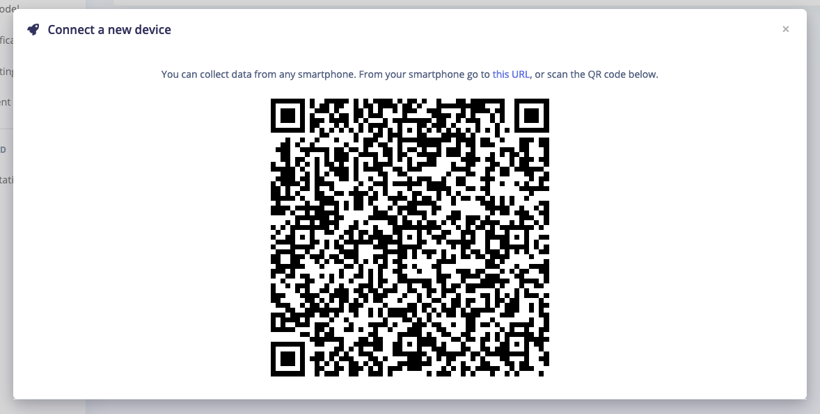 Scanning a QR code to connect your phone to Edge Impulse