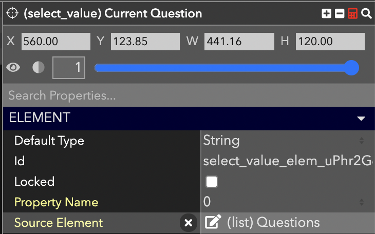 The select value element for reading the current question from the list. Property Name **0** means the first element, **1** means the second, etc.