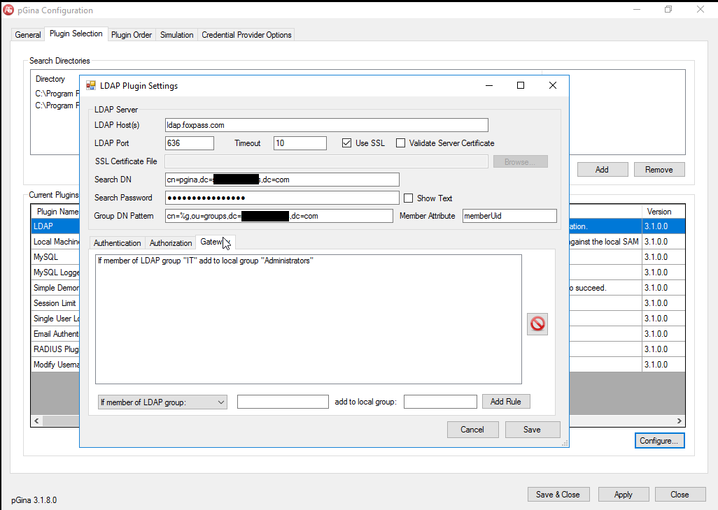 Windows LDAP auth with pGina