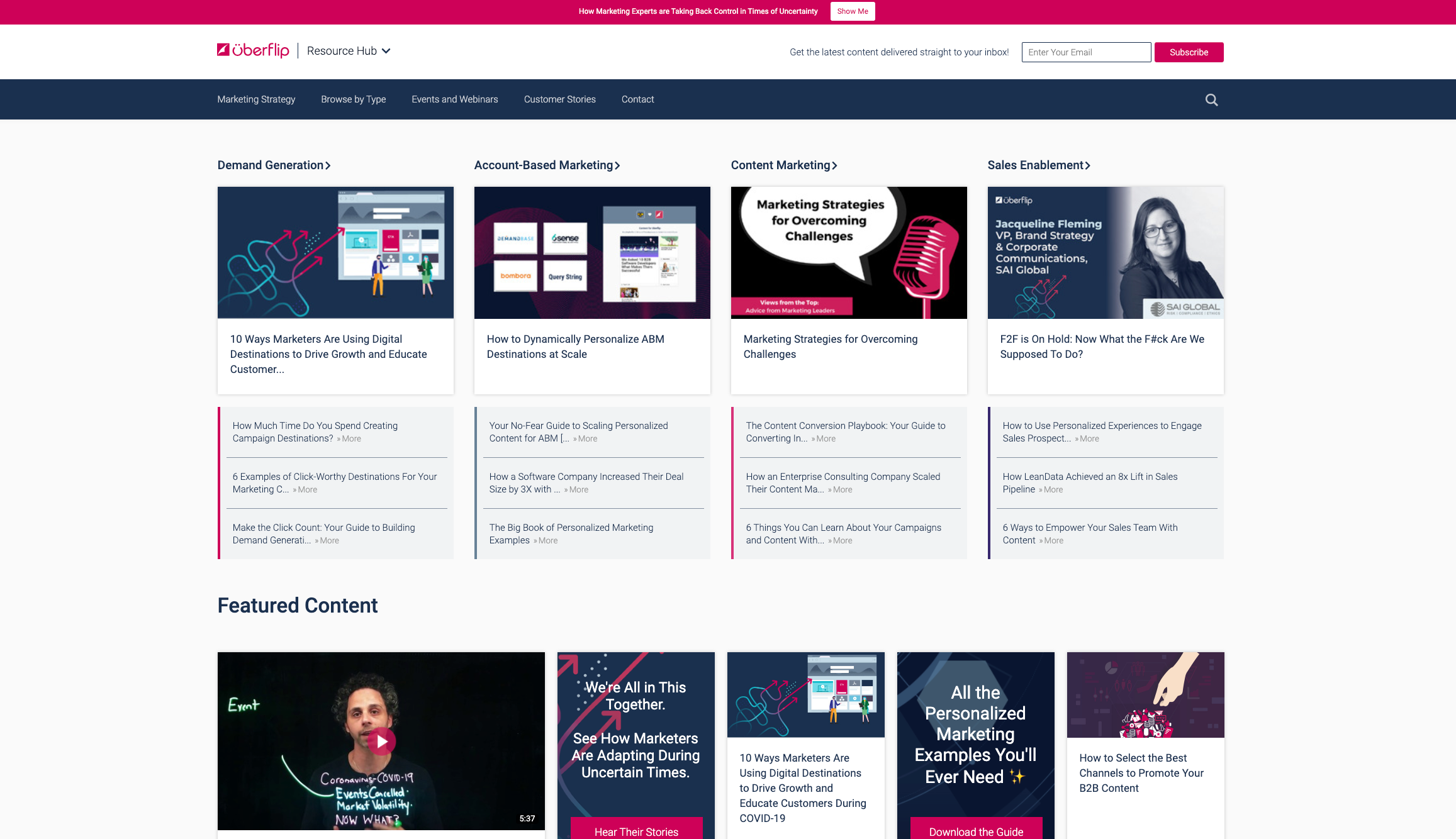 Uberflip's own [Resource Hub](https://hub.uberflip.com/), which features an extensively customized frontend