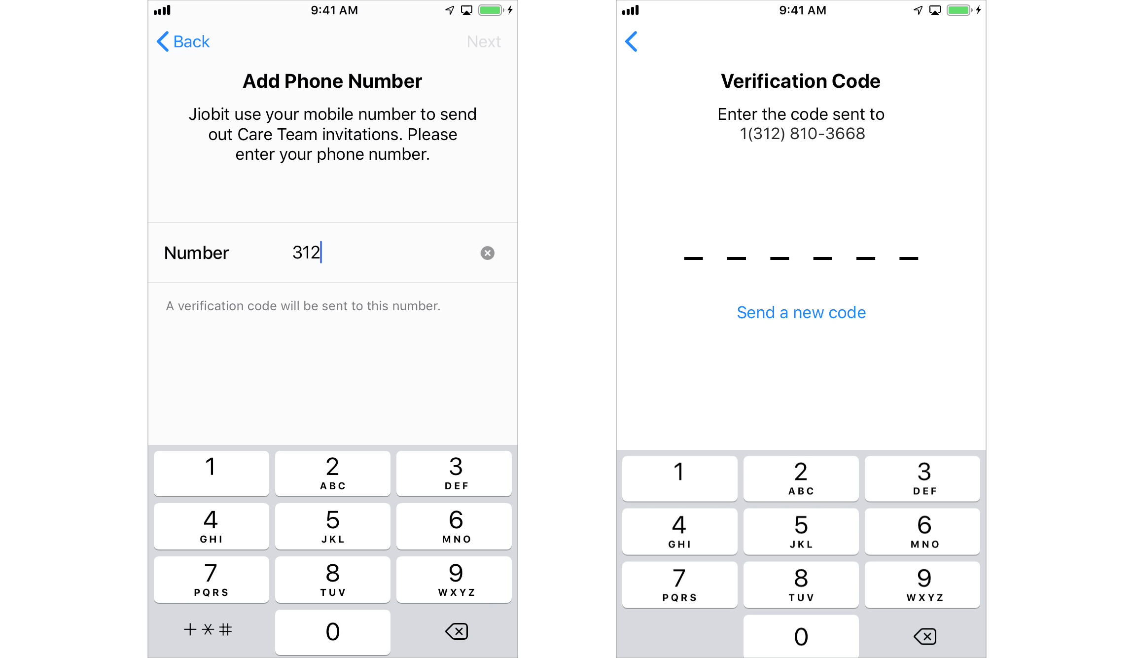 iOS phone number and verification screens.
