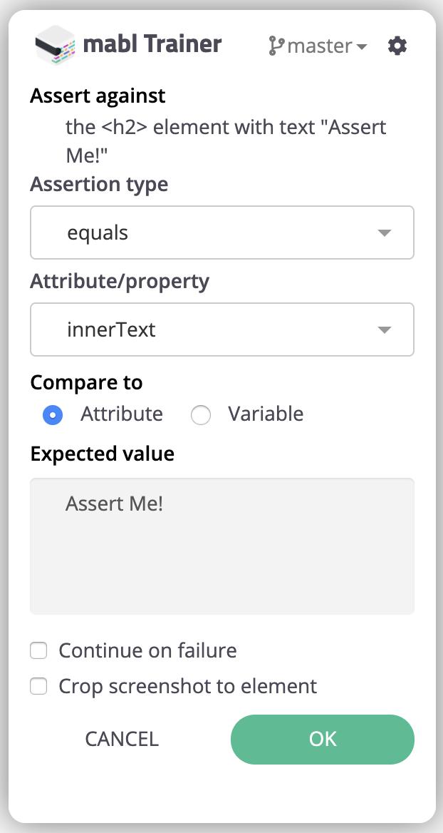 element assertion options