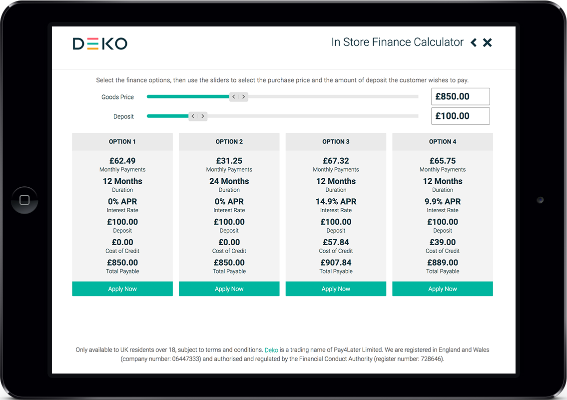 You can present up to 4 finance options to the customer. When you move the price and deposit sliders, the finance details are instantly calculated and displayed.