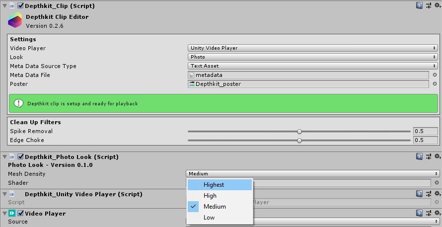 Setting up a Depthkit clip