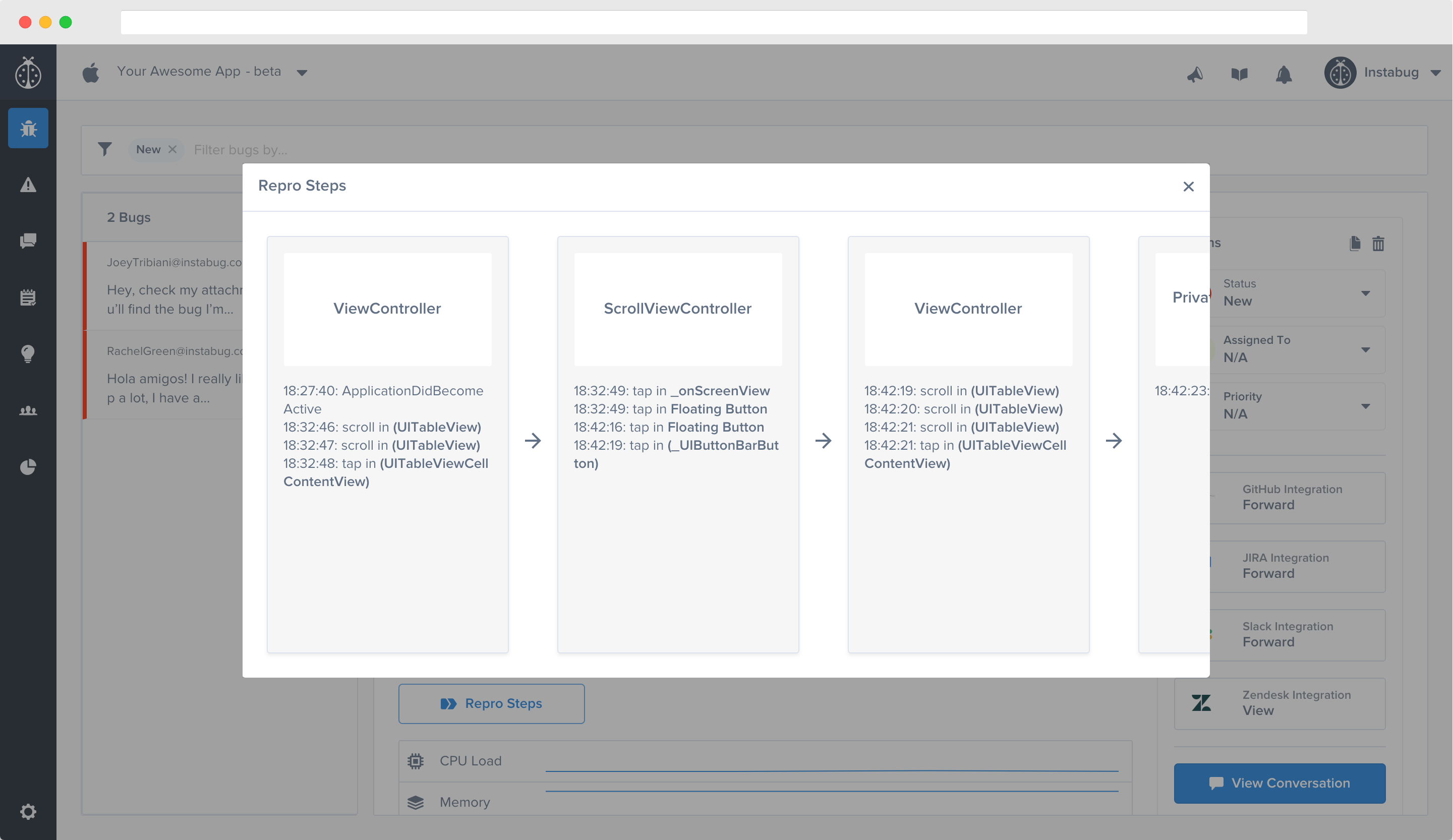 An example of Visual Repro Steps in the Instabug dashboard.