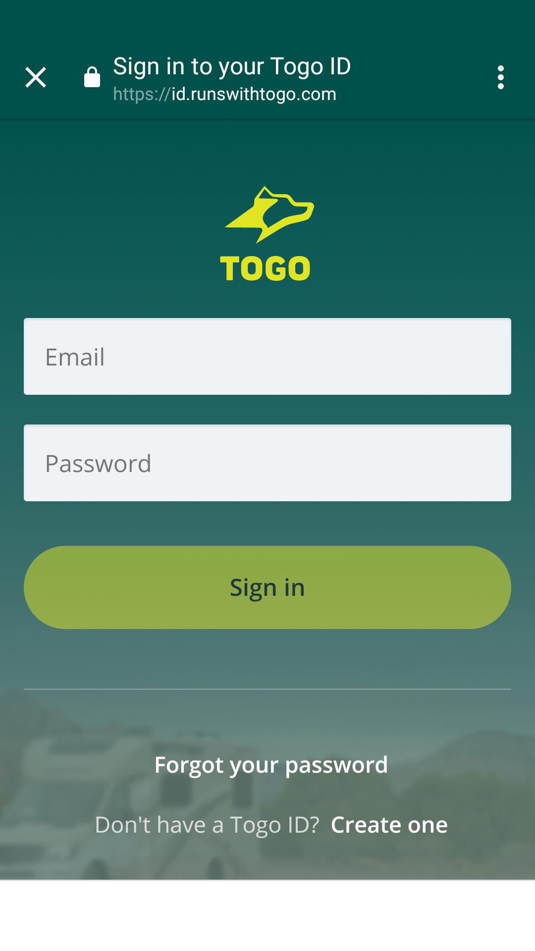 Togo RV Login Screen