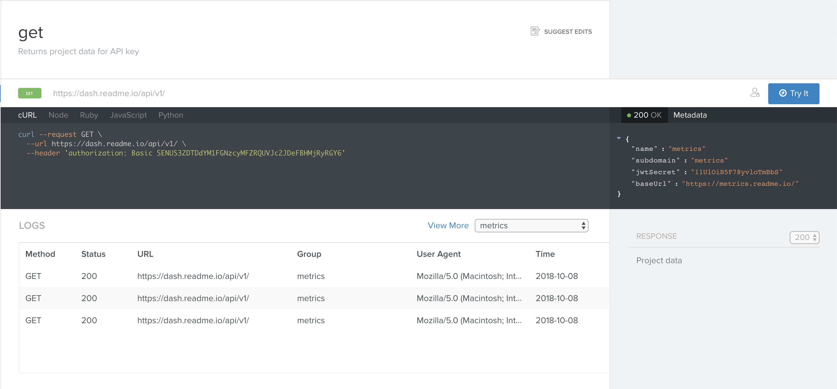 Your users can view their logs directly in the API Explorer