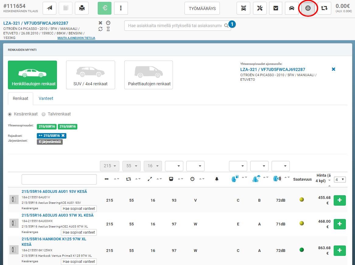 Uusia renkaita ja vanteita voidaan selata oheisen listauksen kautta