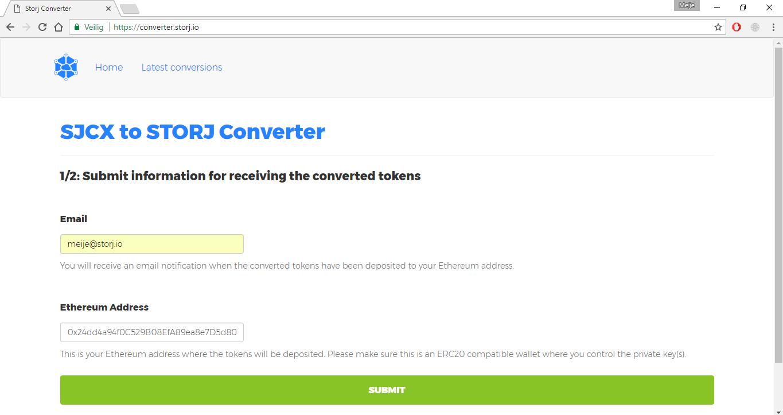 *図3.2。 あなたのメールアドレスを入力し、新しいSTORJトークンのEthereumアドレスをコンバータのWebサイトに入力してください。