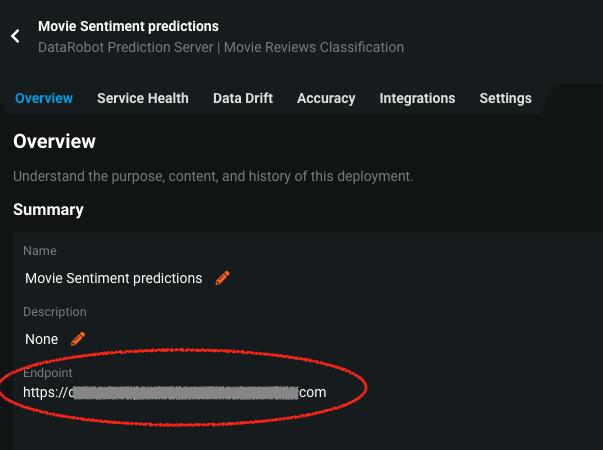 Prediction server endpoint