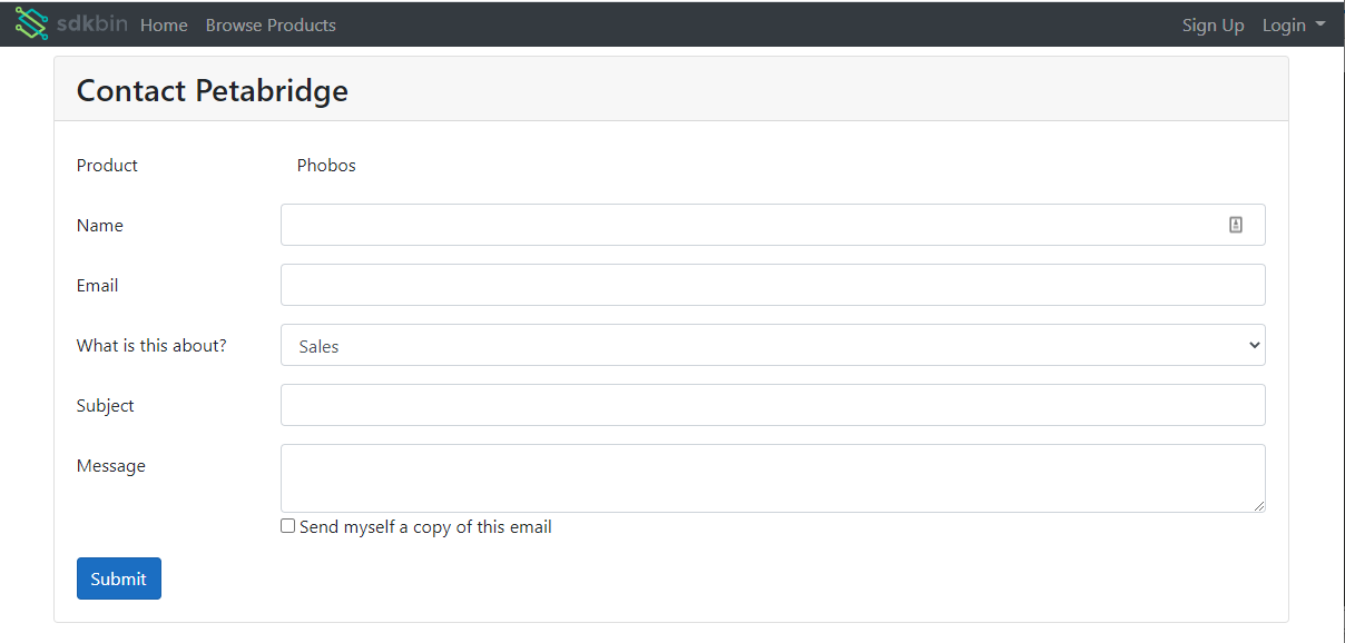 The publisher contact form.